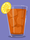 Iced tea glass of with lemon Stock Photo