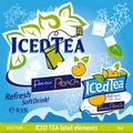 ICED TEA label elements Royalty Free Stock Photography