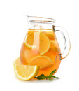 Iced tea with lemon isolated on white background Stock Photos
