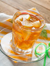 Iced tea with lemon slices selective focus Stock Photography