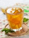 Iced tea with lemon slices selective focus Stock Photo