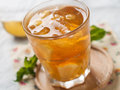 Iced tea with lemon slices selective focus Royalty Free Stock Photography