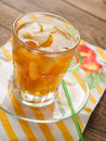 Iced tea with lemon slices selective focus Stock Image