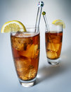 Iced tea with lemon on white background Royalty Free Stock Photos
