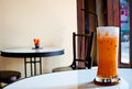 The iced tea with milk as thai style background Stock Photo