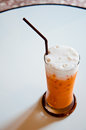 The iced tea with milk as thai style background Stock Photography