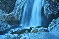 Iced water falls photo of waterfall taken in the columbia river gorge during winter Royalty Free Stock Image
