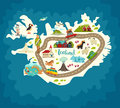 Iceland abstract map, handdrawn vector illustration