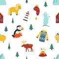 Iceland cartoon seamless pattern. Travel illustration