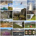 Iceland collage photo from includes major natural landmarks like the geyser landmannalaugar mountains and jokulsarlon Royalty Free Stock Photography
