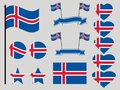Iceland flag set. Collection of symbols heart and circle. Vector Royalty Free Stock Photo