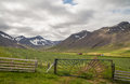 Iceland green meadow with mountains Royalty Free Stock Photo
