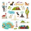 Iceland landmarks vector icons set. Royalty Free Stock Photo
