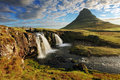 Iceland landscape spring panorama at sunrise kirkjufell Stock Photo