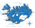 Iceland map highly detailed vector of with administrative regions main cities and roads Royalty Free Stock Image