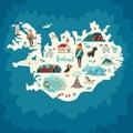 Iceland map landmarks Royalty Free Stock Photo