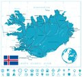 Iceland Map and roads with navigation icons