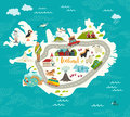 Iceland map vector illustration Royalty Free Stock Photo
