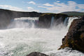Iceland, Northern Europe, waterfall, Godafoss, black, stone, nature, green, landscape, summer, climate change, water Royalty Free Stock Photo