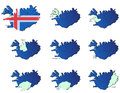 Iceland provinces maps a set of icons Stock Photo