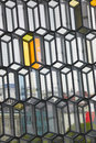 Iceland reykjavik harpa concert hall facade detail of with view of across the windows vertical Royalty Free Stock Image