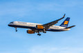 Icelandair boeing from approaches kef airport in iceland Royalty Free Stock Photo