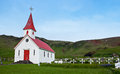 Icelandic church on the blue sky Stock Photos