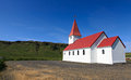Icelandic church on the blue sky Royalty Free Stock Images
