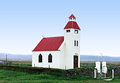 Icelandic church on the blue sky Royalty Free Stock Image