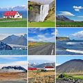 Icelandic landscape collage mountains and roads Stock Photography
