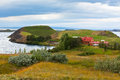 Icelandic Landscape with Cottage at Mivatn Lake Coastline Stock Image