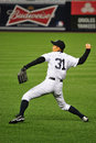 Ichiro suzuki practice throwing stance ishiro yankees baseball player in pinstripe uniform number Stock Photo