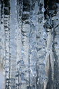 Icicle formation close up frozen waterfall creating frozen group Stock Image