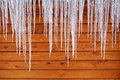 Icicles on a Cabin Stock Photos