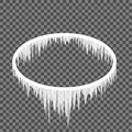 Icicles hanging from an oval frame Royalty Free Stock Photo