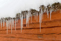 Icicles hanging from a snowy roof on a barn Royalty Free Stock Photo