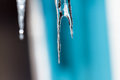 Icicles from low winter temperatures hanging the roof in an extreme cold and wet Royalty Free Stock Image