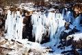 Icicles on rocks vitosha mountains bulgaria Stock Photos