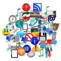 Icon abstraction consists of various web icons on a white background for designers for various necessities Stock Photo