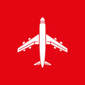 Icon of airplane, plane on red background vector illustration. Royalty Free Stock Photo