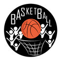 Icon of basketball a red ball with men around in a white background Royalty Free Stock Photo