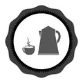 Icon black on white cup of coffee tea with steam line