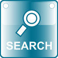 Icon blue search web Button Stock Image