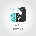 Icon of brain and muscle hand. Willpower concept Royalty Free Stock Photo