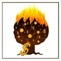 Icon of burning money tree Royalty Free Stock Photo