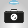 Icon of camera on a gray background. Vector illustration