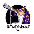 Icon cartoon astrologer