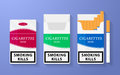 Icon of cigarette pack. The open, empty and closed boxes with an inscription - smoking kills Royalty Free Stock Photo