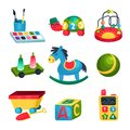 Collection of various children s toys. Ball, rocking horse, ABC cube, bead maze, turtle with numbers, paints with Royalty Free Stock Photo