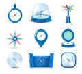 Icon compass blue vector set item Royalty Free Stock Photos
